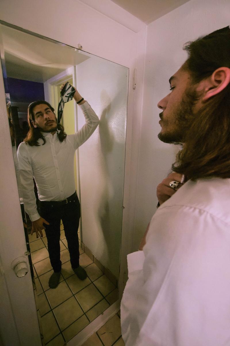 mirror hangs